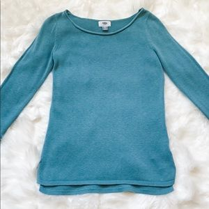 Old Navy Roll Boat Neckline Teal Sweater